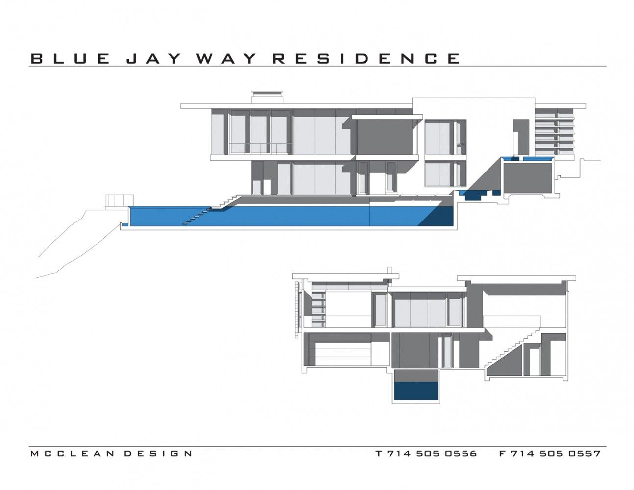 maison blue jay way plan de coupe