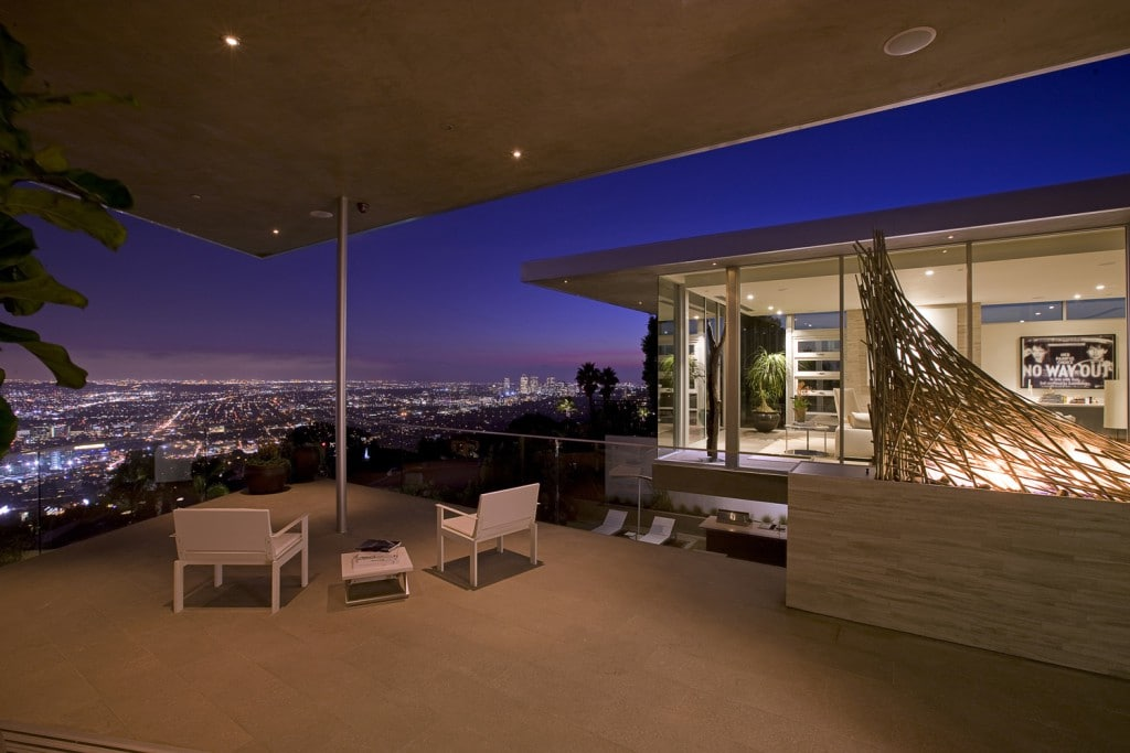 vue de la chambre sur los angeles maison blue jay way